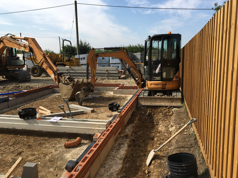 Groundworks included foul drain, storm drainage, block and beam, Coton