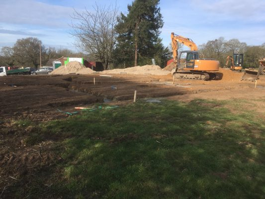 Building site set up, roadway, car park, new building, Semer, Hadleigh