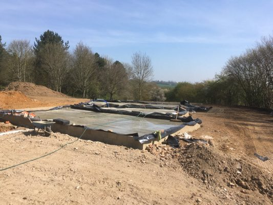 Site set up, roadway, car park, new building, Semer, Hadleigh