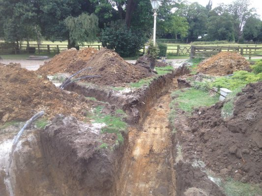 Excavate trenches for borehole installation, Coney Weston