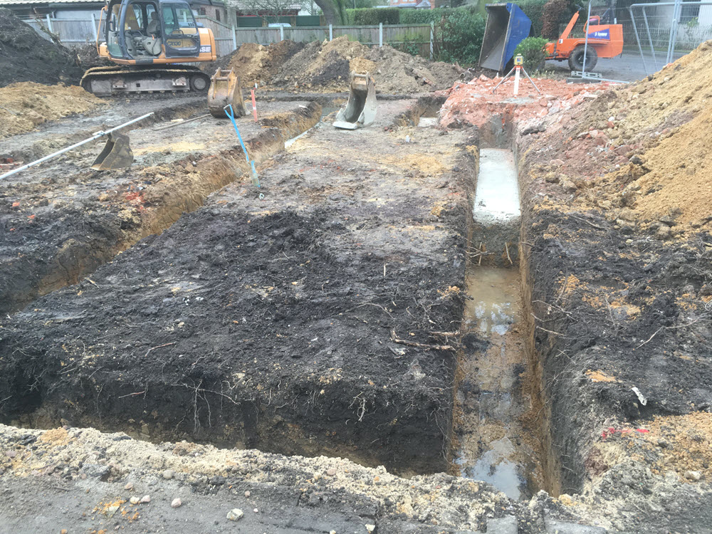 groundworks for foundations, East Bergholt