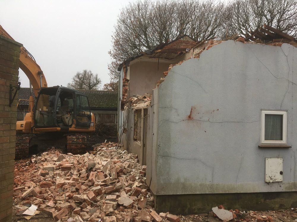 Demolition of buildings, East Bergholt