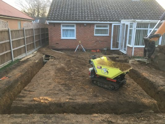 groundworks package for bungalow extension, Elmswell