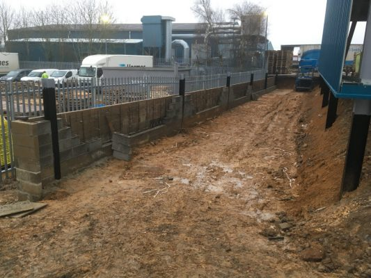 excavation of concrete pade for steel building, Newmarket