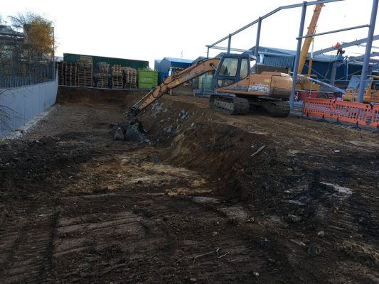Excavate foundations groundworks for concrete pads, Newmarket