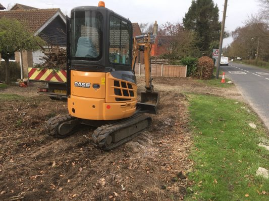 excavate to remove hedge and extend drive, Norton