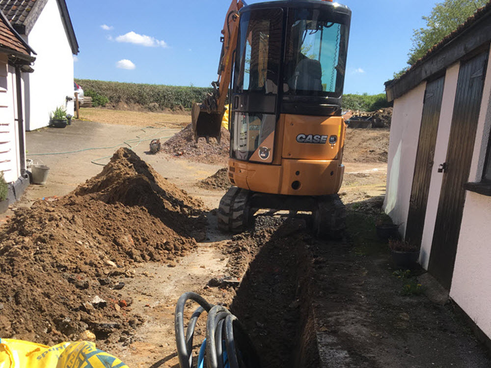 excavate trenches and install service ducts, Rickinghall