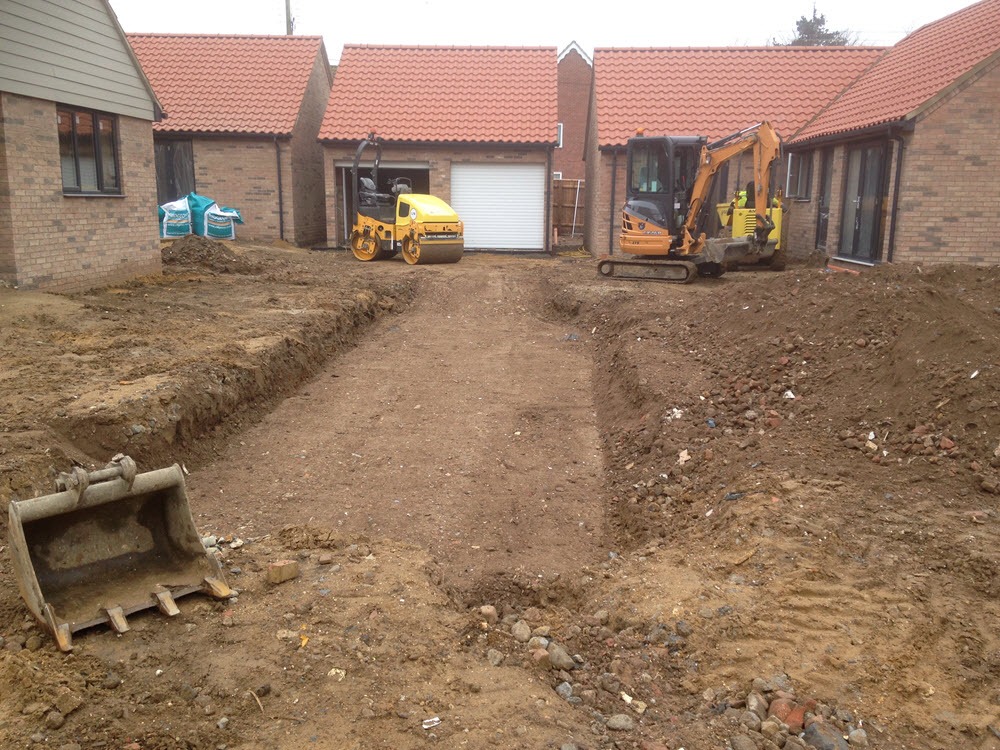 Driveway groundworks, Risby