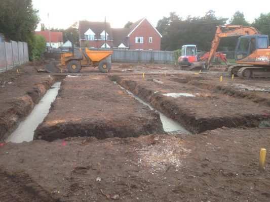 Excavate foundations Groundworks, Risby