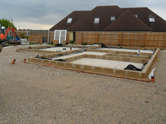 Groundworks to DPC for a self build house, Woolpit