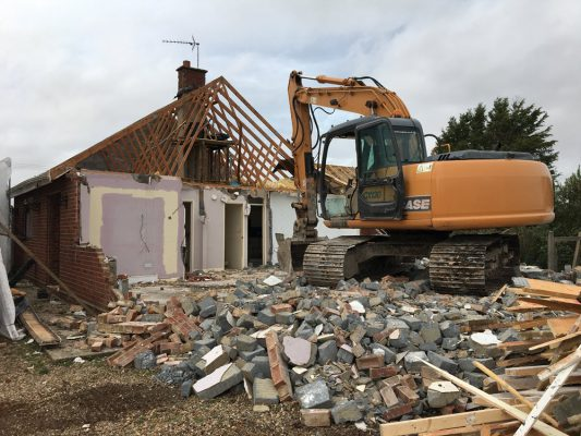 Demolition of bungalow Stonham Aspal